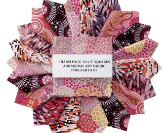 """5"""" Quilters Charm Squares  x 20 - Australian &  Aboriginal Art Fabric - PINK EARTH #1"""