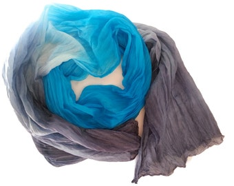 Silk Ruffled Scarf, silk scarf , Habotai silk scarf , silk scarves , accessories , gift for her , pure silk scarf , hand dyed, blue shades