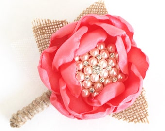 WEDDING BOUTONNIERE- Rustic Burlap Grooms Boutonniere, Coral Groomsmens Boutonnieres, Rustic Wedding