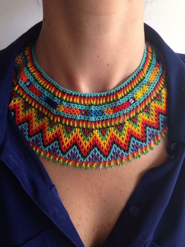 colorful valeria beaded necklace choker handmade with