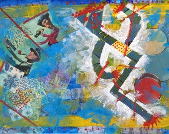 """Mixed Media Collage Art """"Happy Crooked Man"""""""