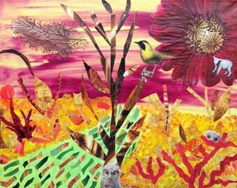 "Mixed Media Collage Art, ""Colorado Owls"""