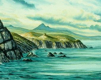 Abereiddi Carn Llidi Original Large Watercolour. Unframed in mounts. Fivety Pounds Off! Pembrokeshire. Coast, Sea, Originals and Prints.