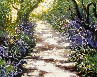 A Greetings Card. The Bluebell Tunnel. Blank inside. Minimum Order X 3 of any Cards Pick and Mix from x 30 different cards.