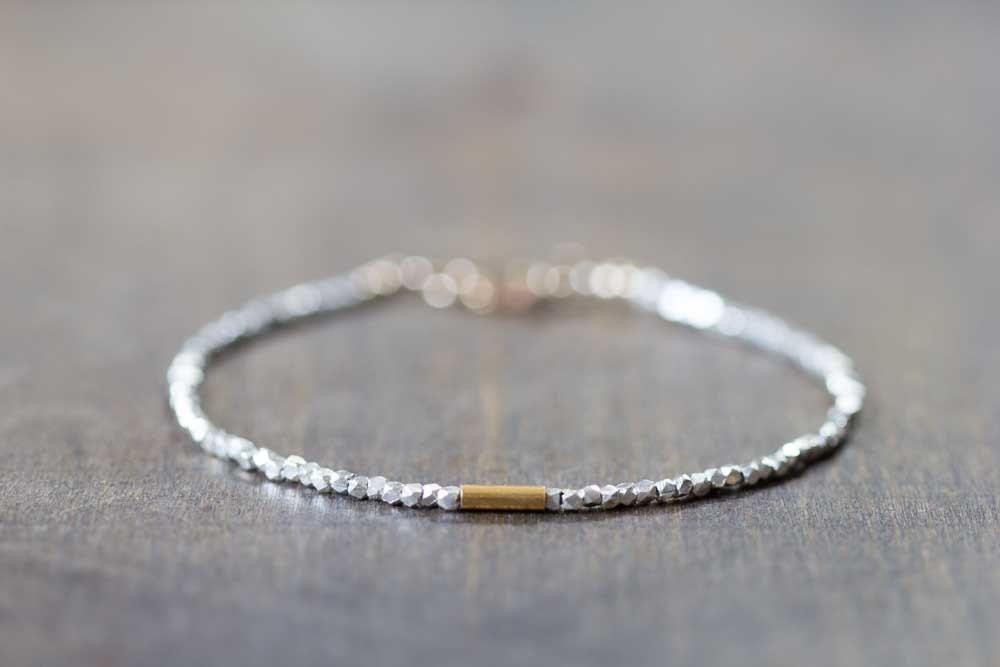 Delicate Fine Silver Bracelet with Gold Vermeil Skinny