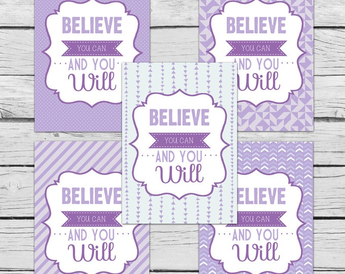 DIGITAL Believe You Can and You Will Purple Note Card SET, Motivational Cards, Positive Inspiration, Stationery, Digital