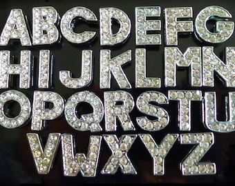 26Pcs Full Rhinestone Alphabet Slider Letters Charms 8mm Name Bracelet A-Z Silver Plated Alphabet Letters Slider Charms Beads DIY Accesories