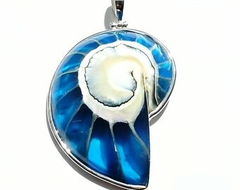 Ecofriendly Blue Nautilus shell necklace Silver Sea Shell pendant