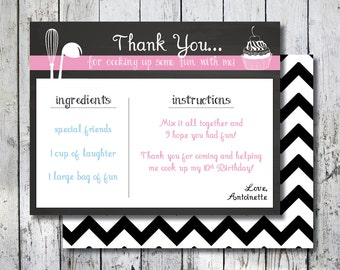 Recipe Thank you card, Matching Cooking Thank you note, Recipe Thank you note, Cooking party thank you, Baking party thank you, Printable