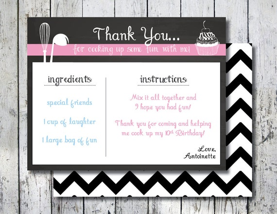 Thank You For Baking: Recipe Thank You Card Matching Cooking Thank You Note Recipe