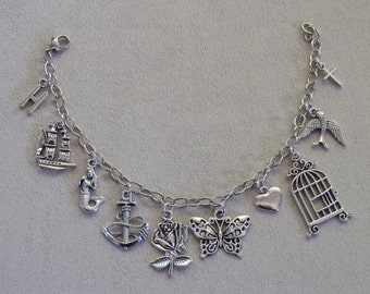 Charm Bracelet, One Direction, Harry Styles Tattoo inspired