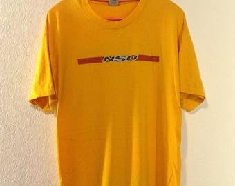 Vintage 90s NSU clothing skater surfing bmx tee shirt classic
