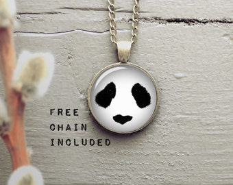 Panda necklace. Hipster gift pendant. Funny and cute gift. Free matching chain is included. Choose your color.