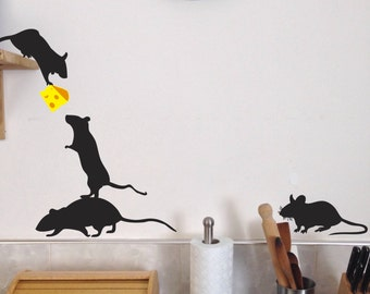 Mice Wall Decals, Set of 13, Cheese included, Lil rats, fun