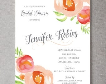Watercolor Floral Bridal Shower PRINTABLE Invitation