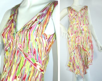 YSL Yves Saint Laurent Rive Gauche silk designer summer DRESS Made in France