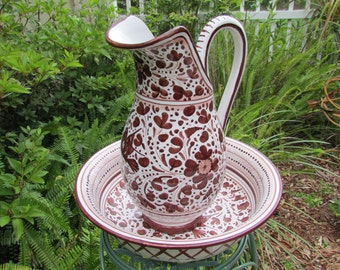 Rare Large hand painted Deruta Pitcher and Basin birds/flowers