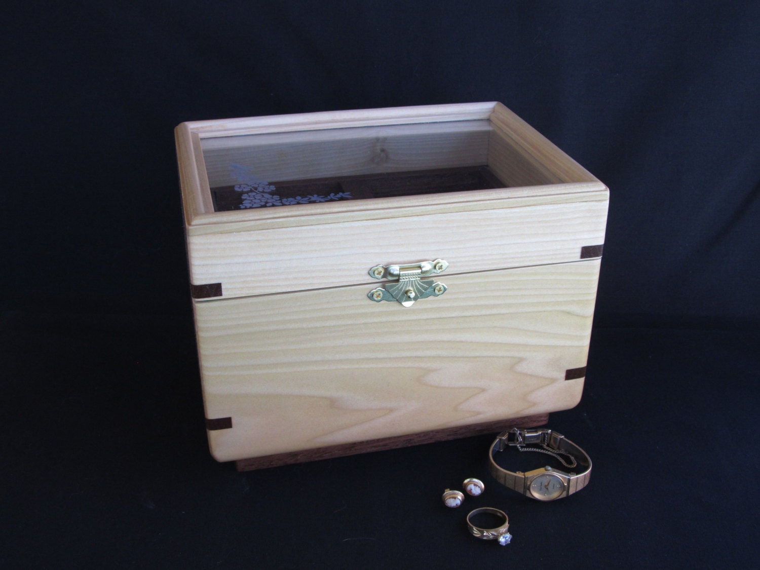 Handcrafted solid wood jewelry box for Solid wood jewelry chest
