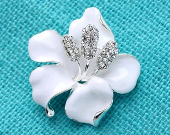Hibiscus Flower Brooch Destination White Wedding Bridal Bridesmaid Prom Dress Sash Corsage Cake Decor White Broaches DIY Jewelry Crafts