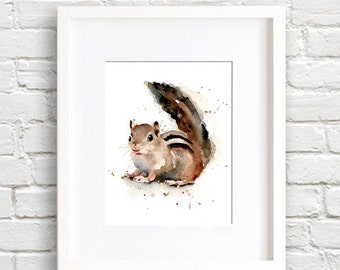 Chipmunk Art Print - Watercolor Painting- Signed by Artist DJ Rogers - Wildlife - Wall Decor