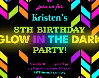 glow in the dark party invitation