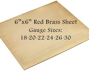 """Red Brass Sheet 6"""" x 6"""" 18-20-22-24-26-30 Gauge Metal For Etching Punching Hammering Cutting Stamping Blanks Pendants Charms Jewelry Making"""