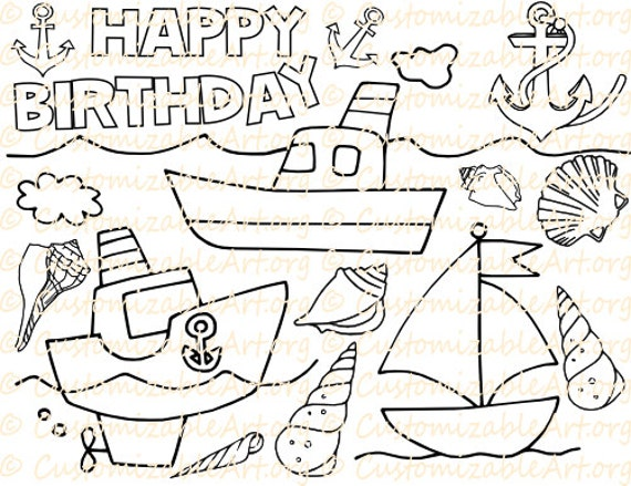 Nautical Party Favor Printable Nautical Coloring Page