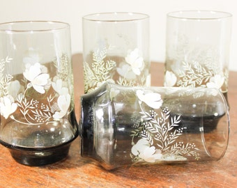 Set of 4 Libbey Glass Tumblers - Floral - Flower Design - Vintage Barware  - Gifts for Her