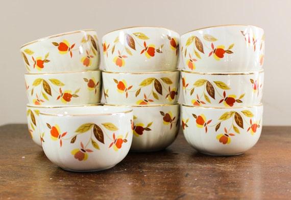 Set Of 4 Hall S Superior Custard Cups Jewel Autumn Leaf
