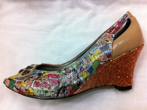 Archie Comic Strip Handmade Glitter Shoes
