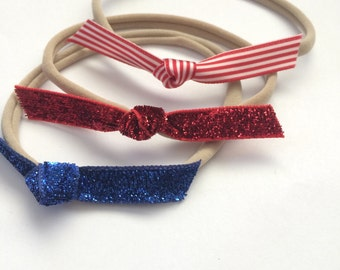 SALE - Sparkles and stripes one size fits all headbands