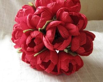 Red paper flower tulips bridesmaid bouquet Wedding decoration Gift idea