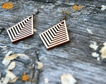 Geometric (small) Laser Cut Wood Earrings