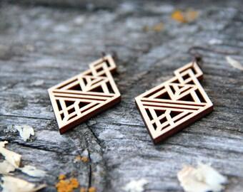 Triangle Laser Cut Wood Earrings