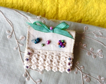 Handmade textile needle case, embellished with lace and beads, lovely Mother's Day gift