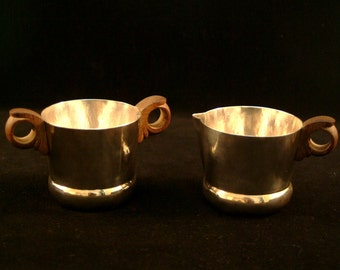 William Spratling Taxco Mexico Mid Century Danish Hammered Cream Sugar Bowls