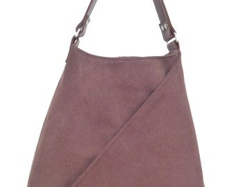 "Triangle pocket 'brown"" canvas & leather tote handbag for summer (easy washable)"