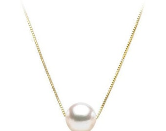"""18"""" 10-11mm Genuine White Pearl 14K Gold Chain Necklace"""