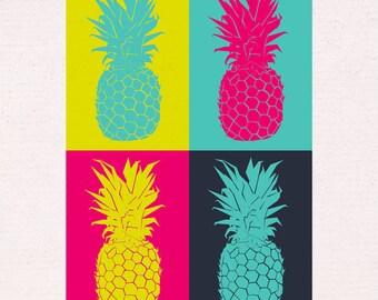 Pineapple Pop Art Print in A3