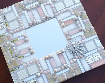 Pale Mosaic Square Mirror