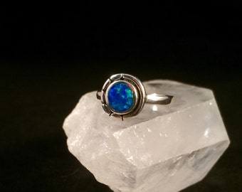 Sterling Silver Blue Lab Opal  Ring. Size 6.5, 7, 7.75, 8.5