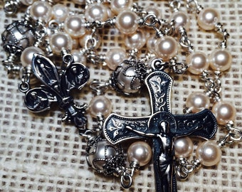 Heirloom Swarovski Pearl Immaculate Conception Rosary, Sterling silver metals and wire, Swarovski 6mm pearls, Immaculate Conception