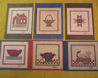 6 assorted country theme cards, with envelopes, blank inside, cross stitch pattern on back, watermelon,house,quilt,chicken,apple,basket