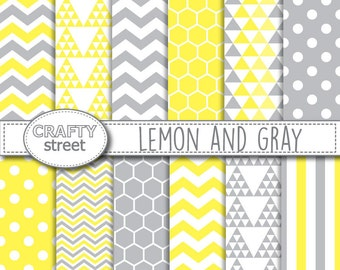 yellow and gray digital paper,yellow,gray,digital paper,scrapbook paper,chevron,scrapbooking,digital paper pack,lemon,instant download,grey