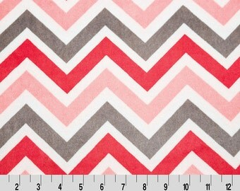 Chevron Minky Cuddle in Watermelon Pink, Charcoal Grey and Snow White from Shannon Fabric