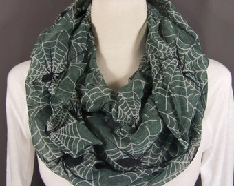 Spider Web Grey Black White Halloween lightweight gauzy infinity loop cowl long scarf Fall Autumn