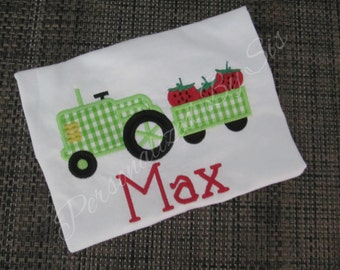 Applique Tractor with Strawberries