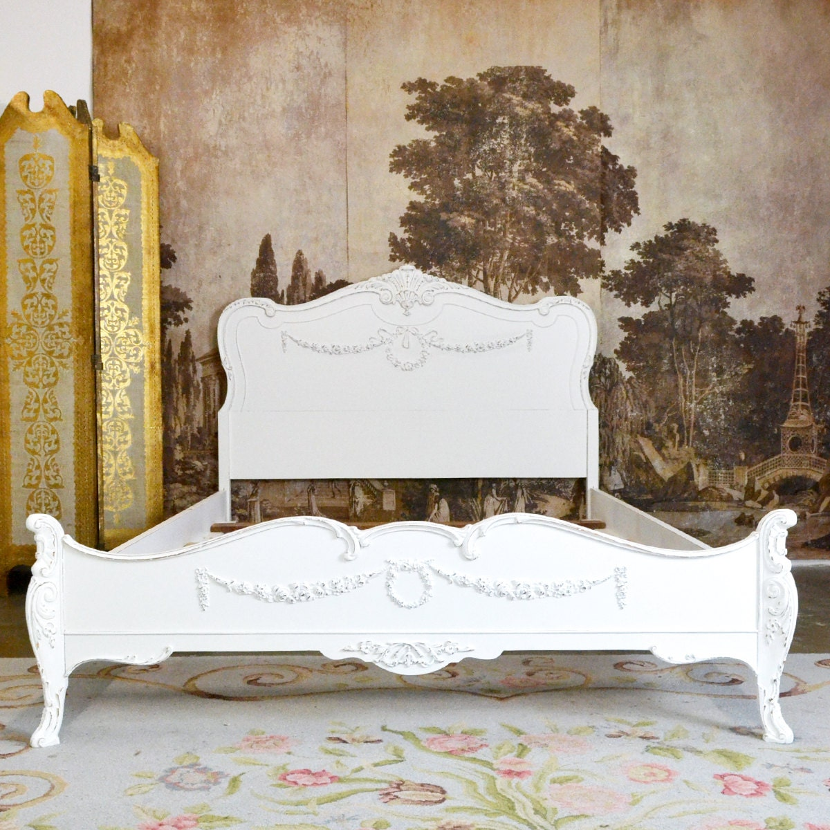 Shabby Cottage Chic White French Style Vintage Bed Frame