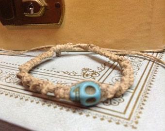 Macreme Bracelet with Truquoise Skull