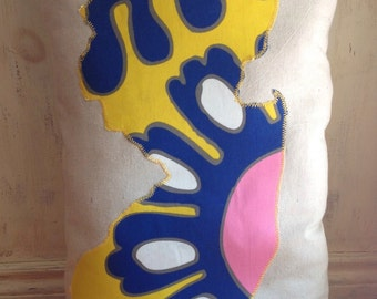 New Jersey pillow  hand made one of a kind colorful